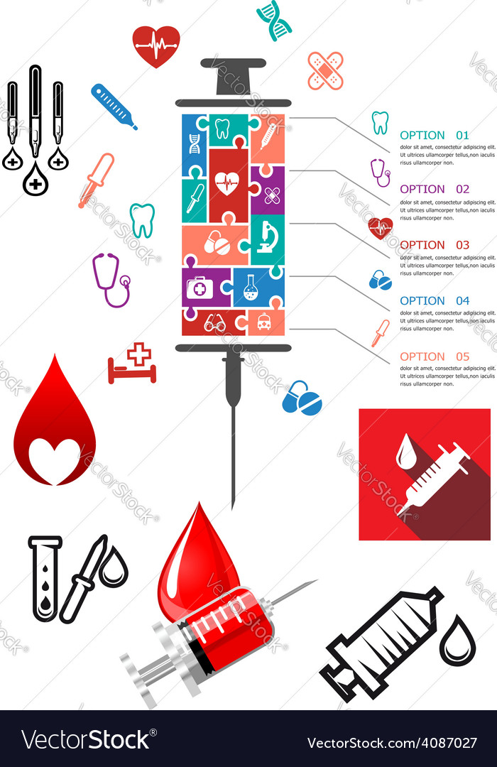 Medical and hospital infographics with icons vector | Price: 1 Credit (USD $1)