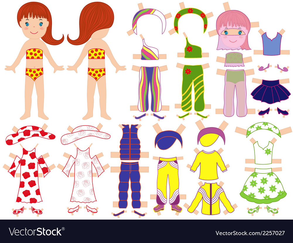 Paper doll and a set of clothing for the summer vector | Price: 1 Credit (USD $1)