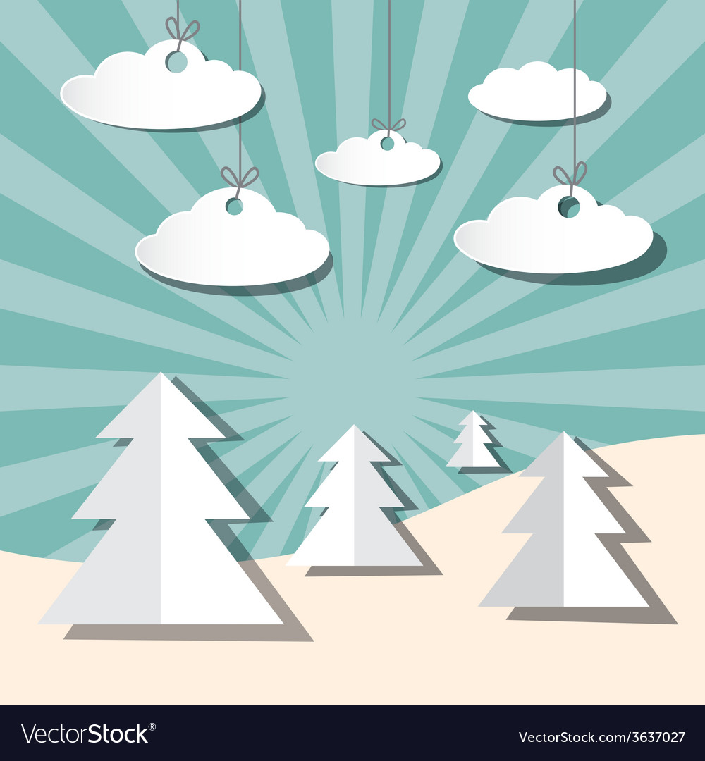 Paper winter landscape with trees and clouds vector | Price: 1 Credit (USD $1)
