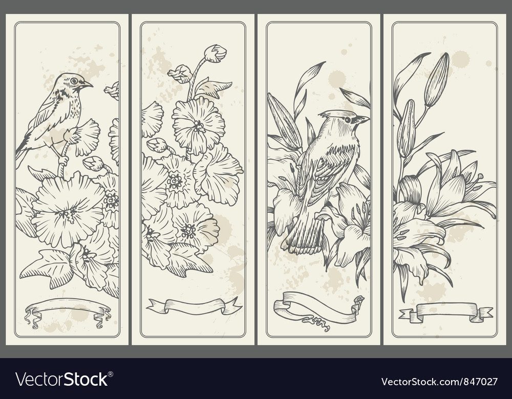 Retro flower and bird banners vector | Price: 1 Credit (USD $1)