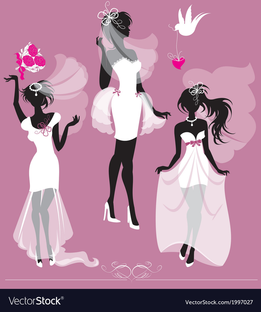 Set of girls silhouettes dressing wedding gown vector | Price: 1 Credit (USD $1)
