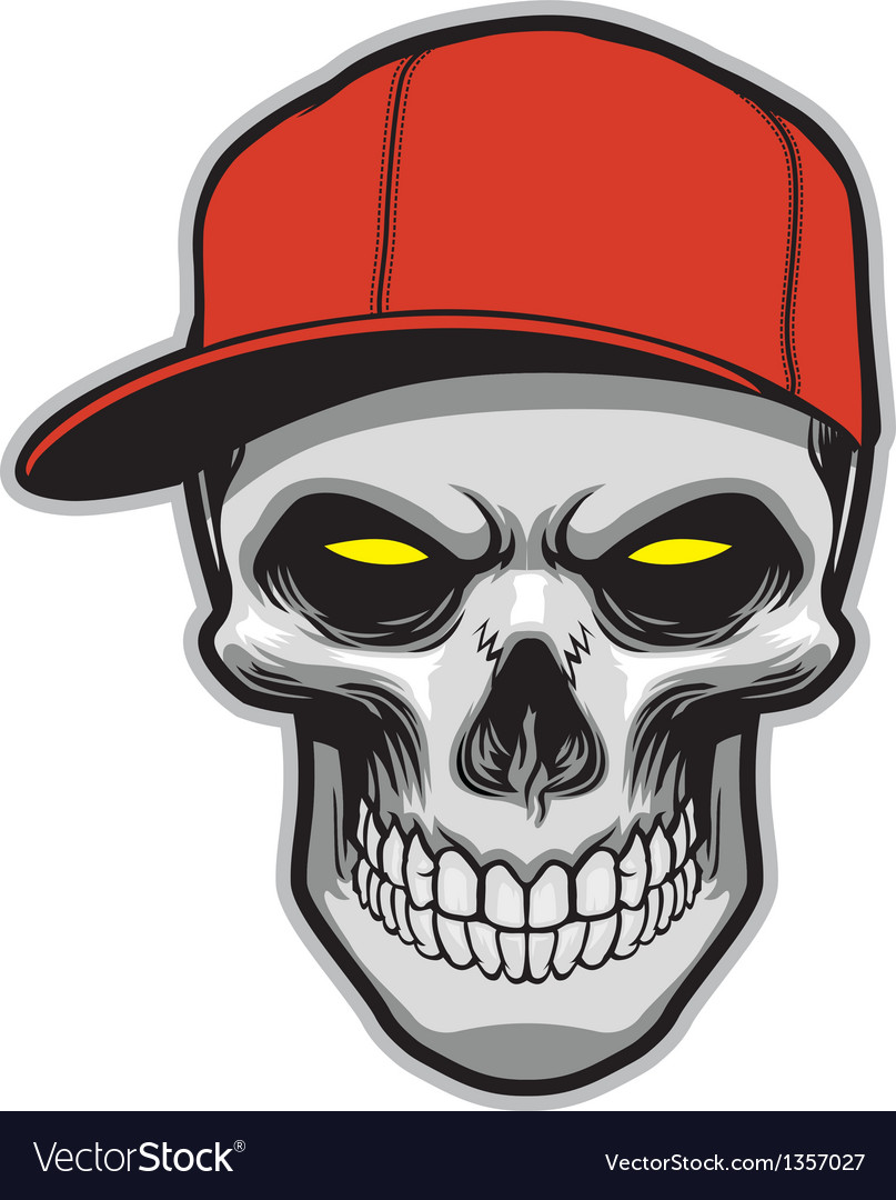 Skull head wearing a hat vector | Price: 1 Credit (USD $1)