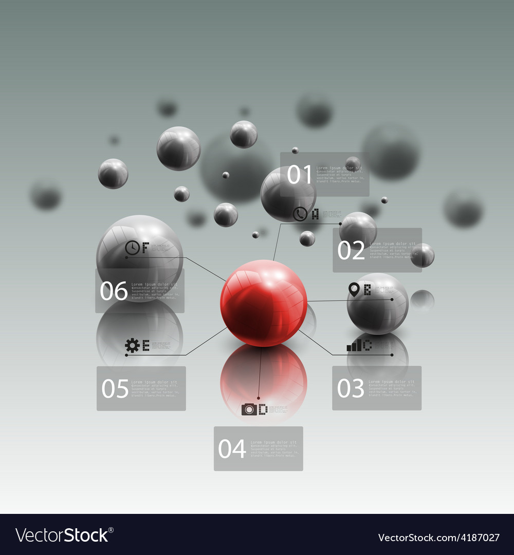 Spheres in motion on gray background red sphere vector | Price: 1 Credit (USD $1)