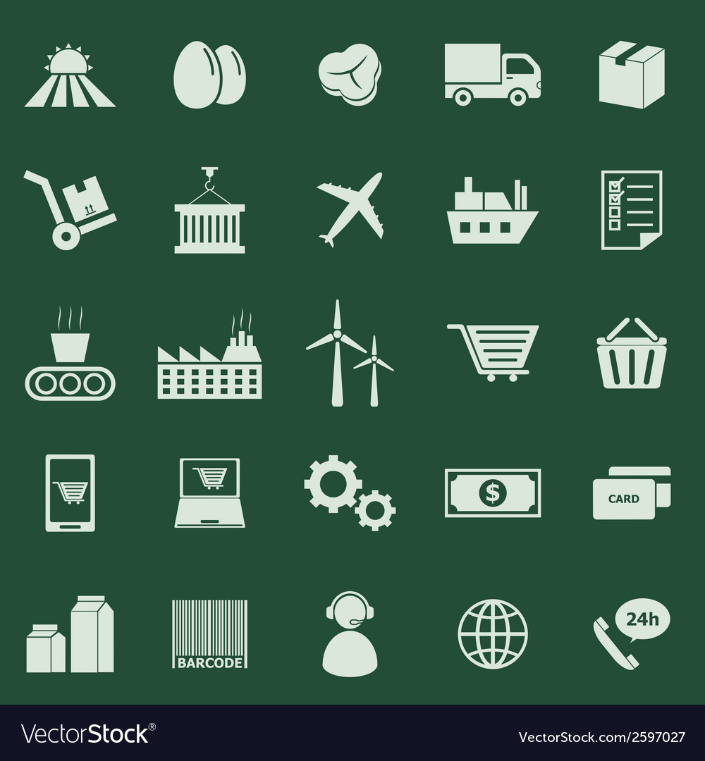 Supply chain color icons on green background vector | Price: 1 Credit (USD $1)