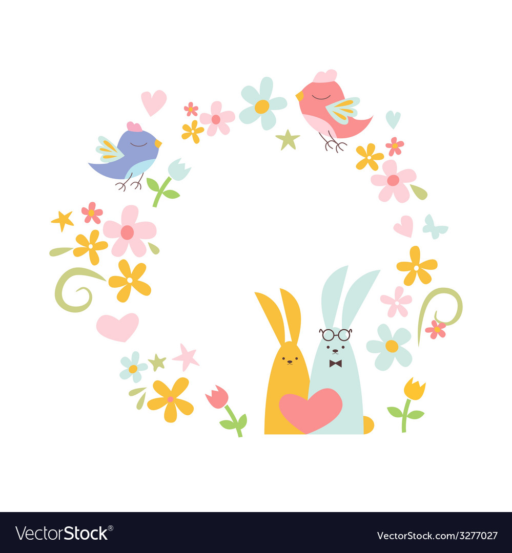 Wreath design with birds and rabbits vector | Price: 1 Credit (USD $1)