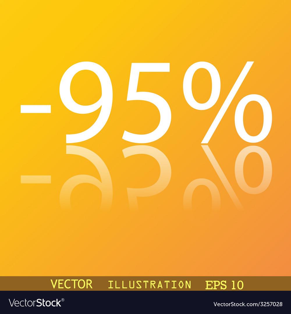95 percent discount icon symbol flat modern web vector | Price: 1 Credit (USD $1)