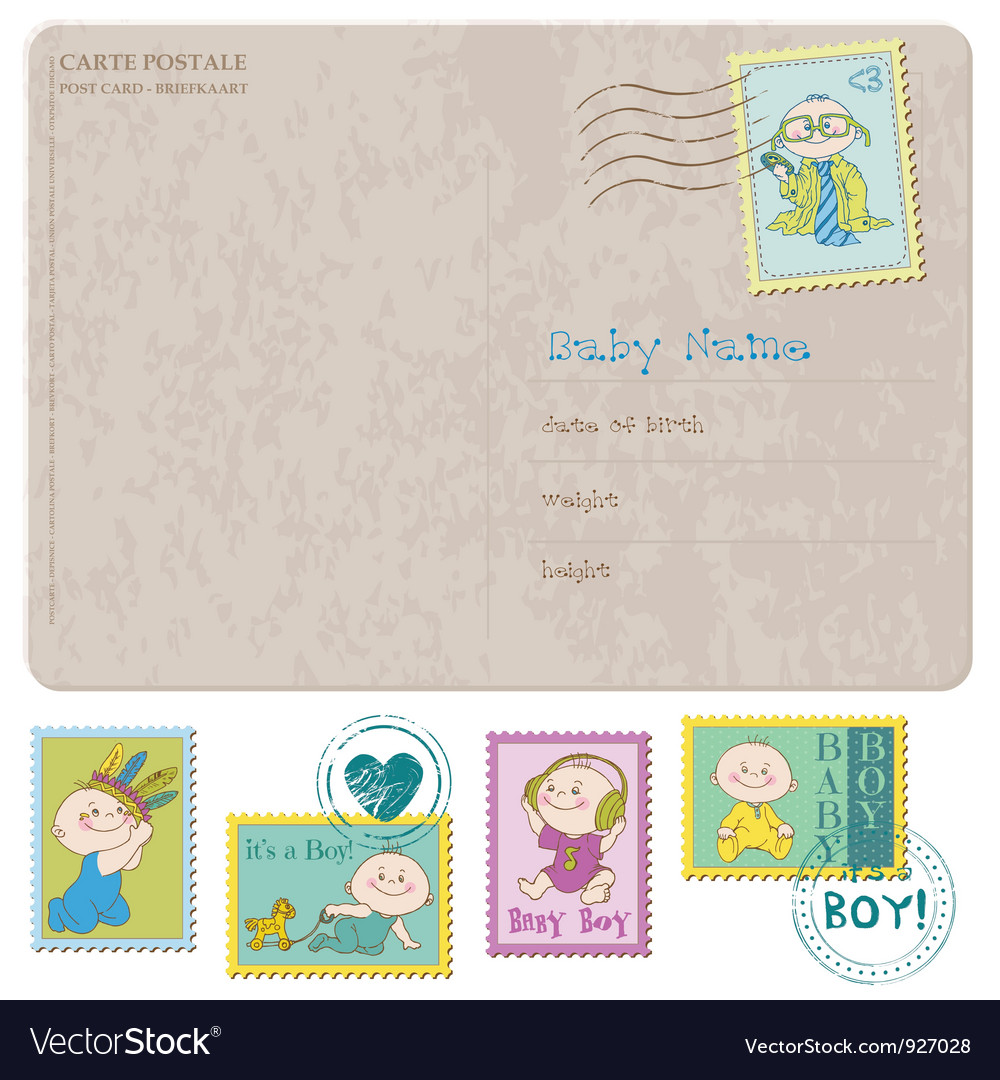 Baby arrival card with set of stamps vector | Price: 3 Credit (USD $3)