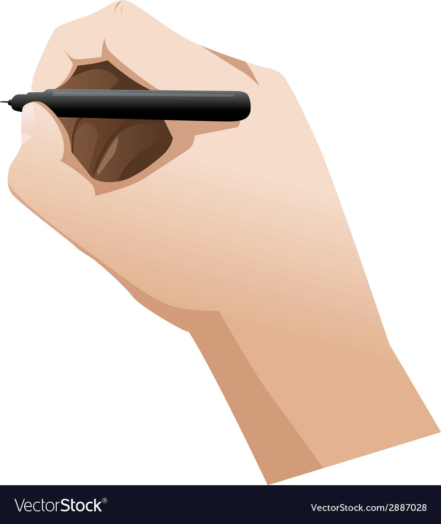 Close up of man arm writing with metallic pen vector | Price: 1 Credit (USD $1)