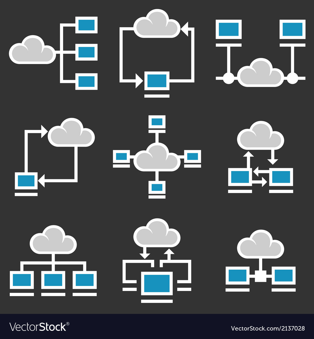 Cloud computing icons set vector | Price: 1 Credit (USD $1)