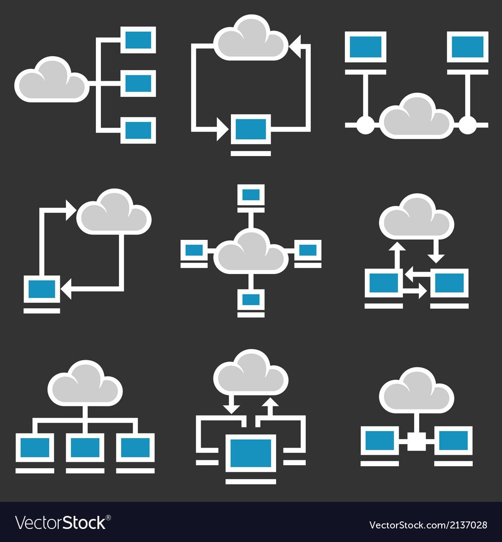 Cloud computing icons set vector | Price: 1 Credit (USD $1)