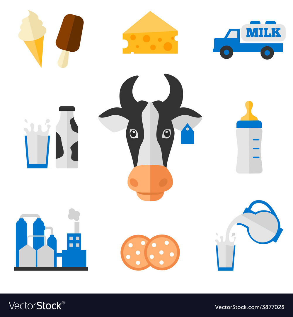 Dairy icons set  flat style vector