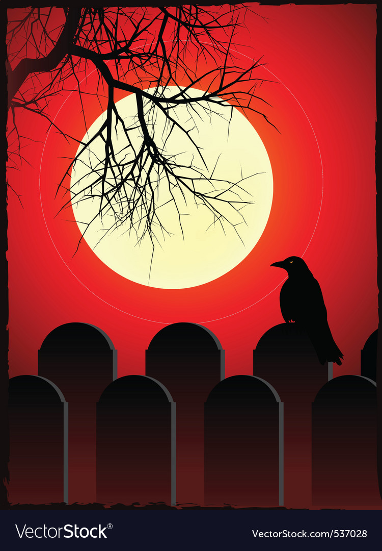 Graveyard with black crow perched on grave stone w vector | Price: 1 Credit (USD $1)