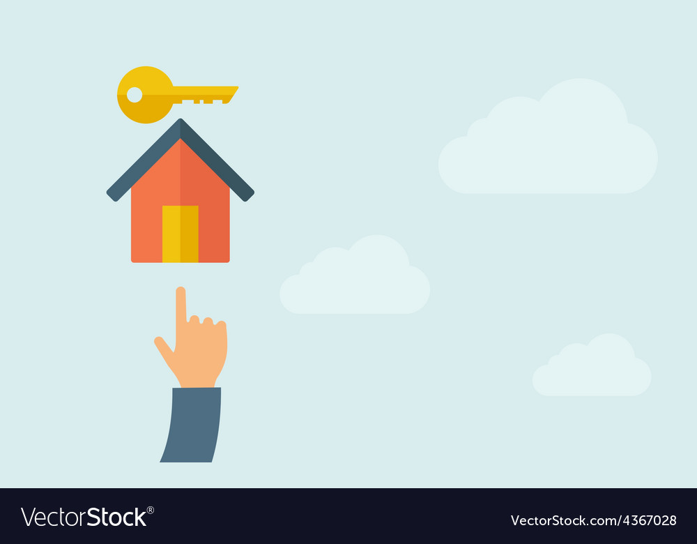 Hand pointing to a house key icon vector | Price: 1 Credit (USD $1)