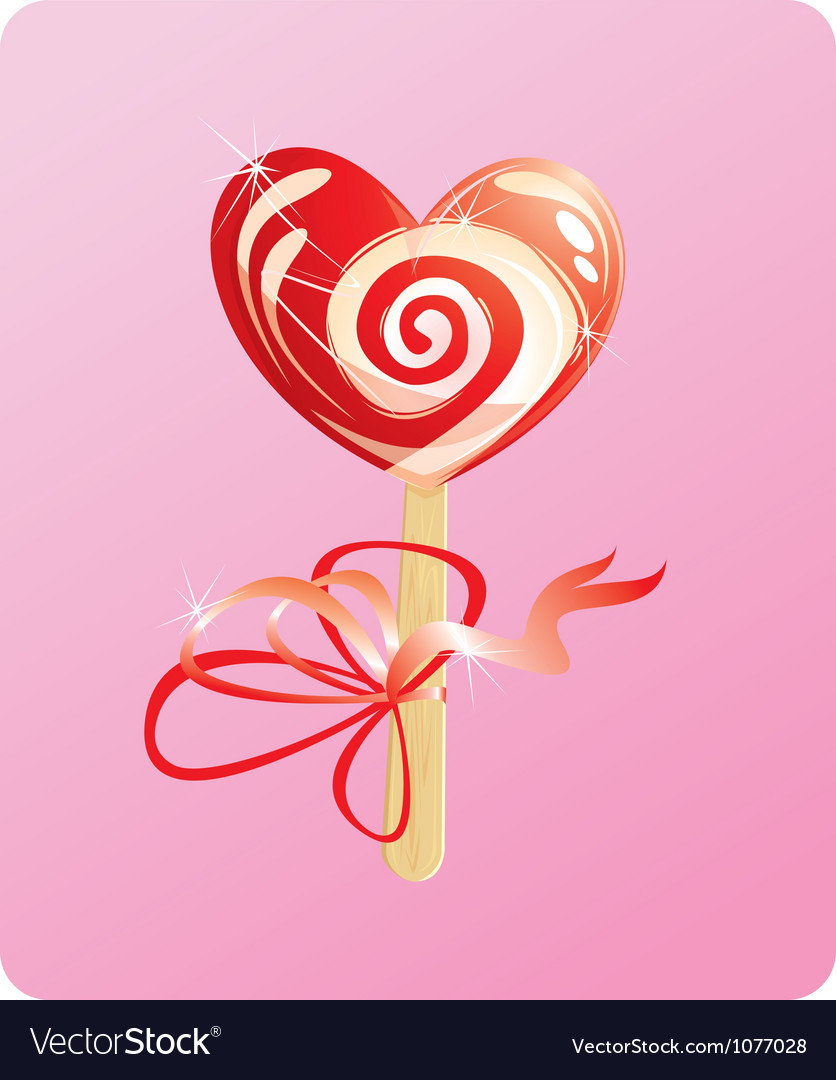 Heart candy - lollipop - on pink background vector | Price: 3 Credit (USD $3)