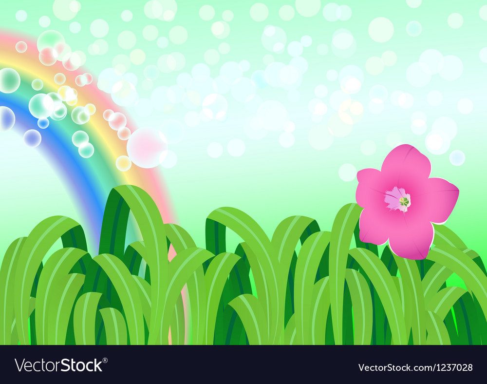 Nature landscape with rainbow vector | Price: 1 Credit (USD $1)