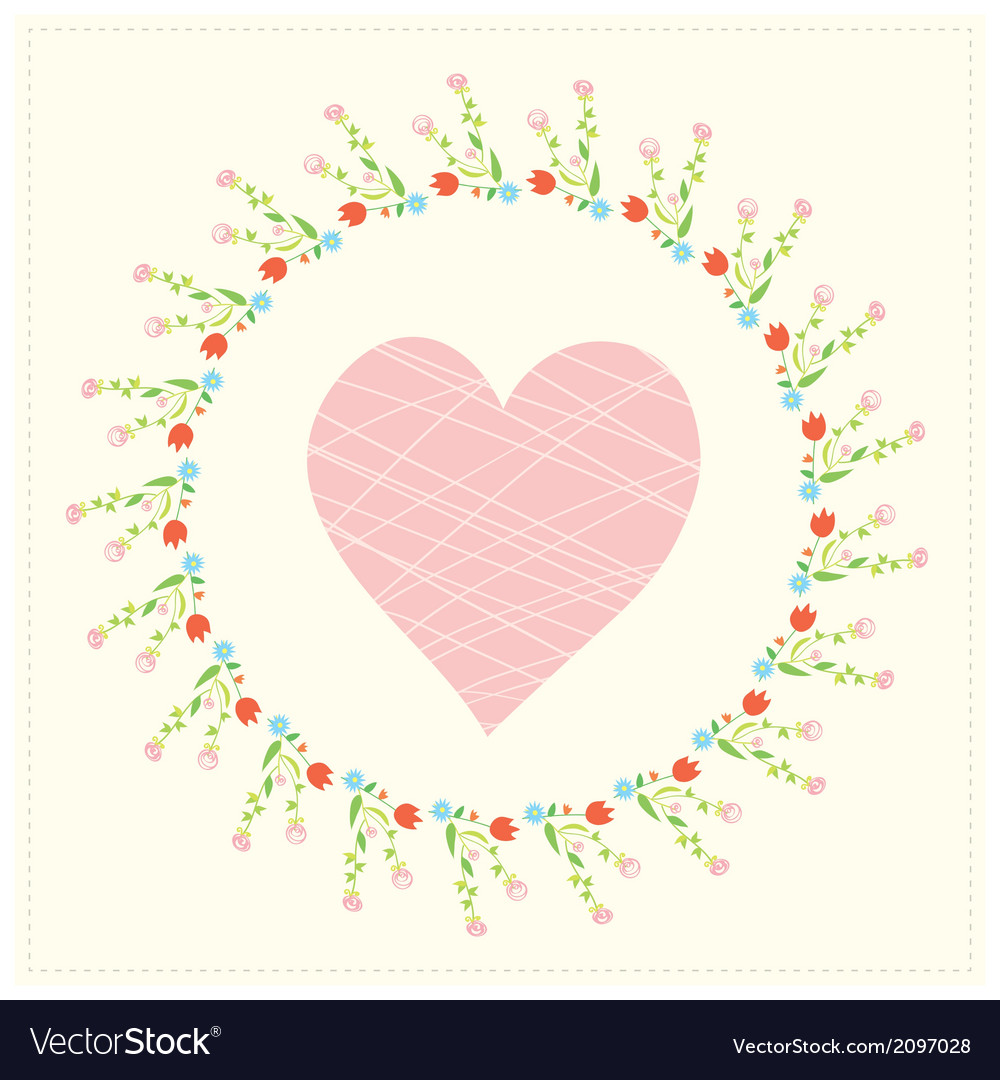 Valentine card with heart and floral frame vector | Price: 1 Credit (USD $1)
