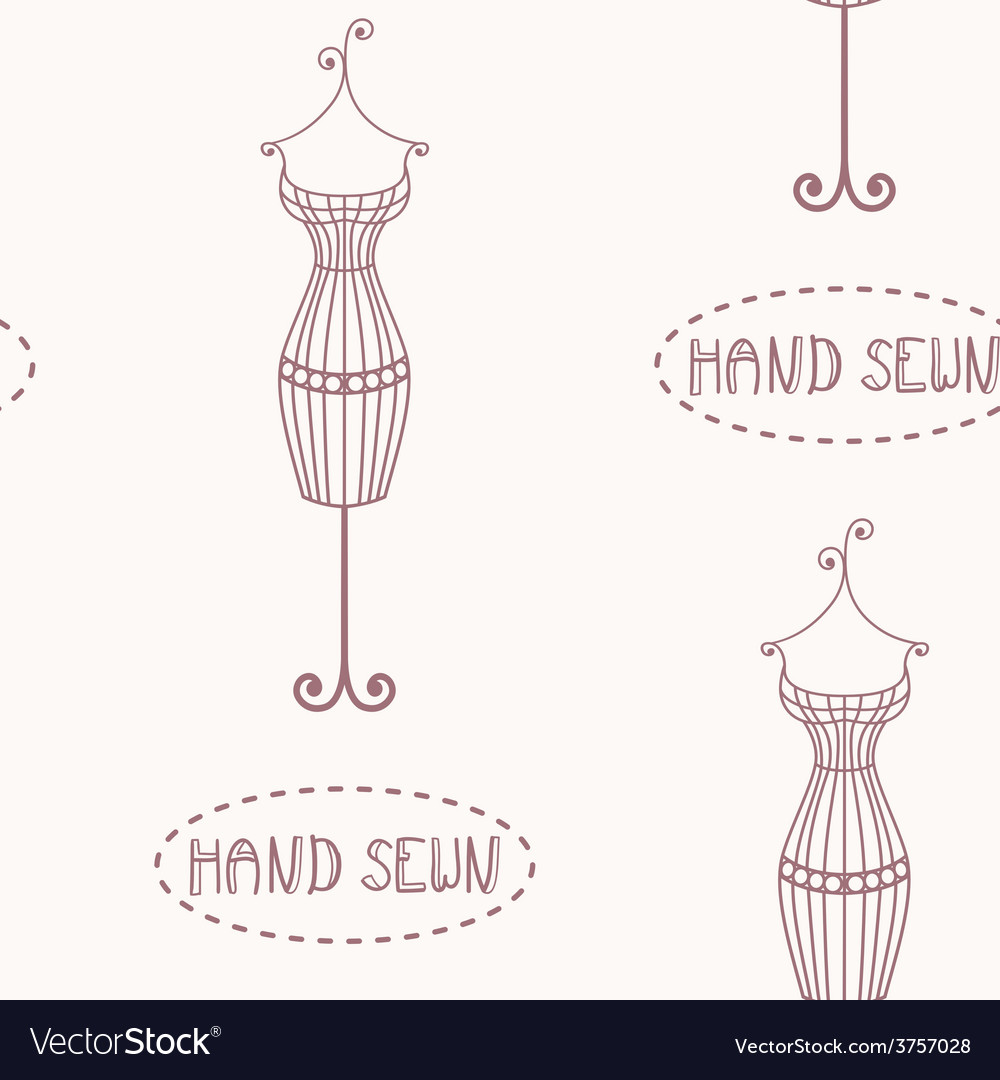 Vintage iron mannequin seamless pattern vector | Price: 1 Credit (USD $1)
