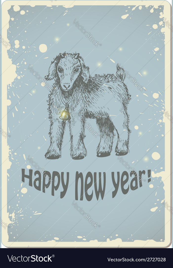 Vintage new year card with sheep vector | Price: 1 Credit (USD $1)