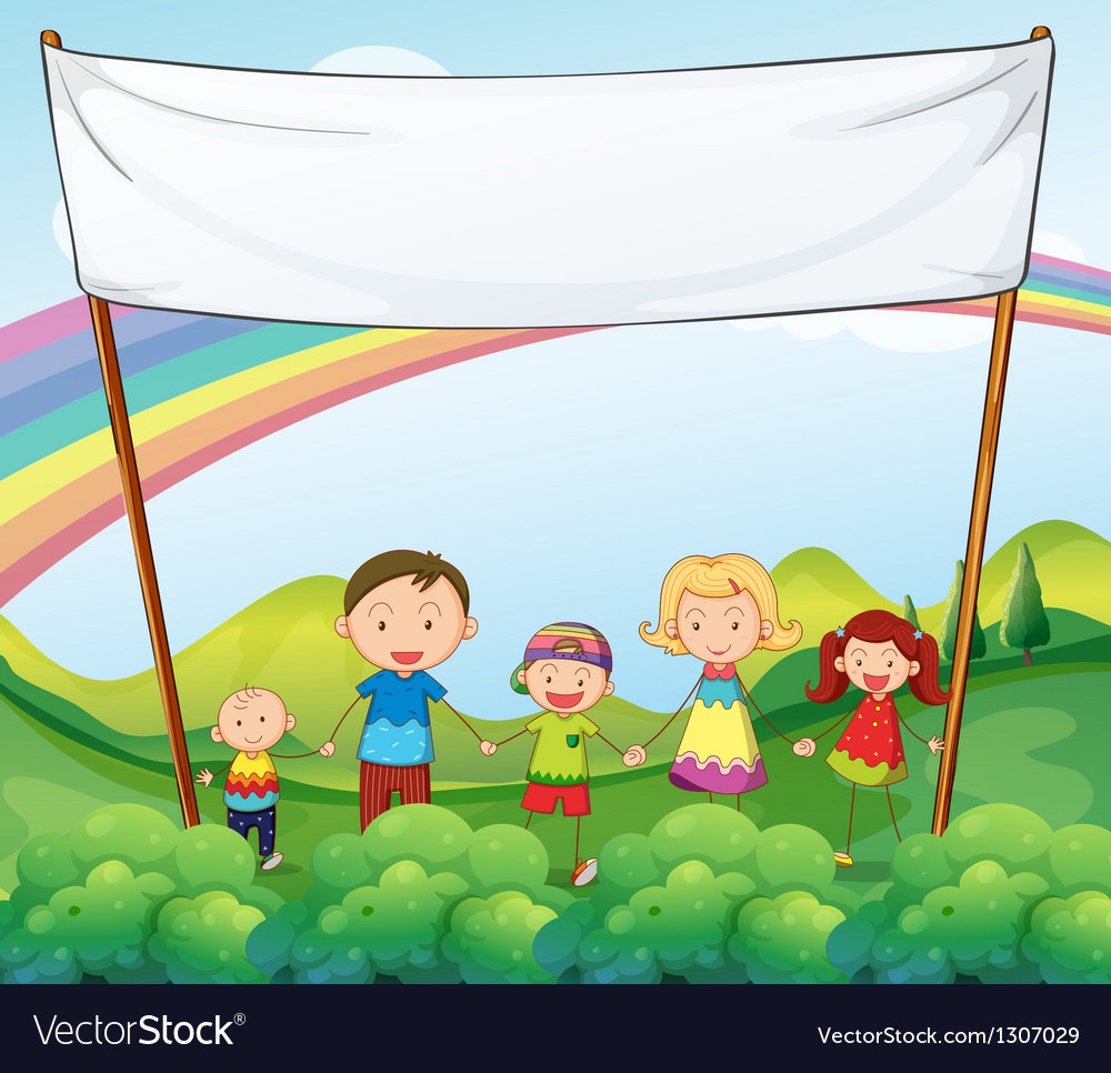 A family in the garden with an empty banner vector | Price: 1 Credit (USD $1)
