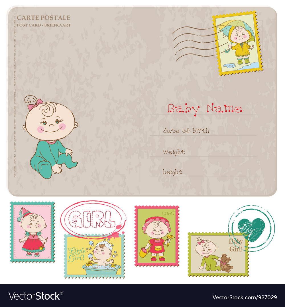 Baby girl greeting postcard vector | Price: 3 Credit (USD $3)