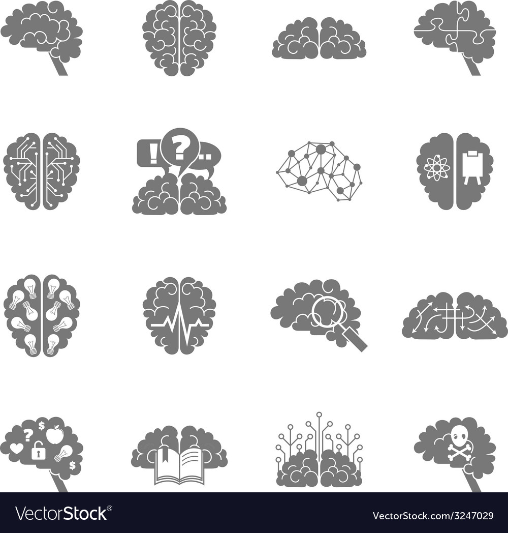 Brain icons black vector | Price: 1 Credit (USD $1)