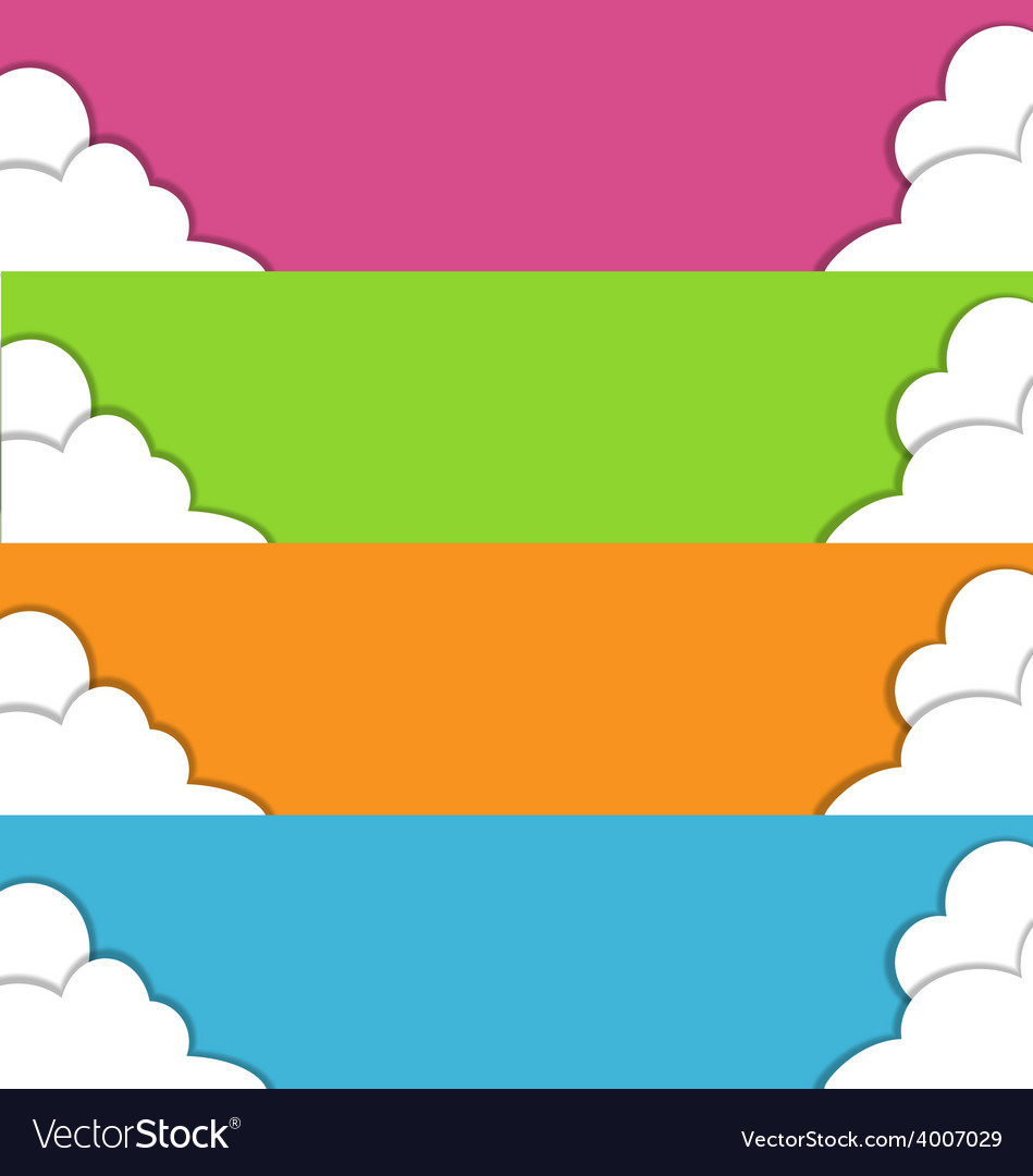 Four multicolored spring banners with clouds vector   Price: 1 Credit (USD $1)