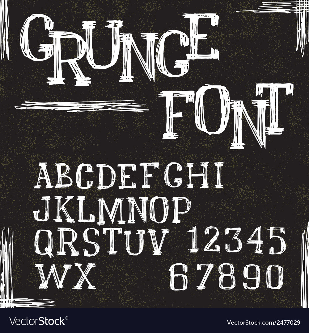 Grunge alphabet letters and numbers vector | Price: 1 Credit (USD $1)