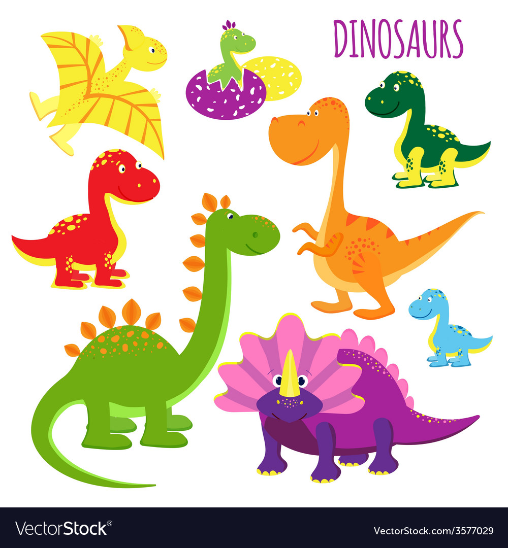 Icons of baby dinosaurs vector | Price: 1 Credit (USD $1)