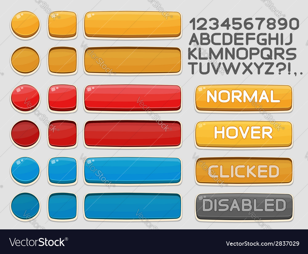 Interface buttons set for games or apps 1 vector | Price: 1 Credit (USD $1)