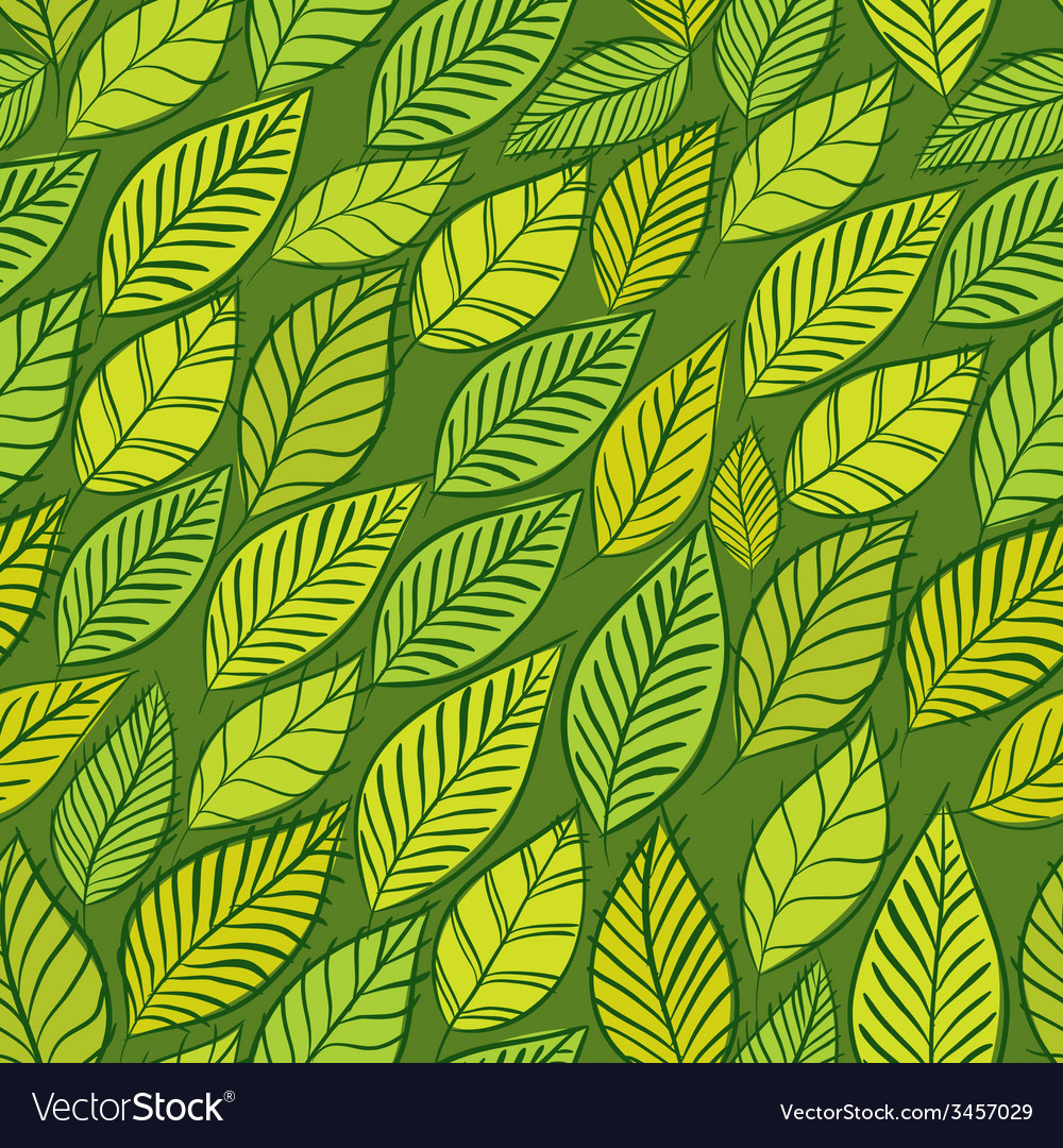 Seamless floral background green leaves seamless vector | Price: 1 Credit (USD $1)
