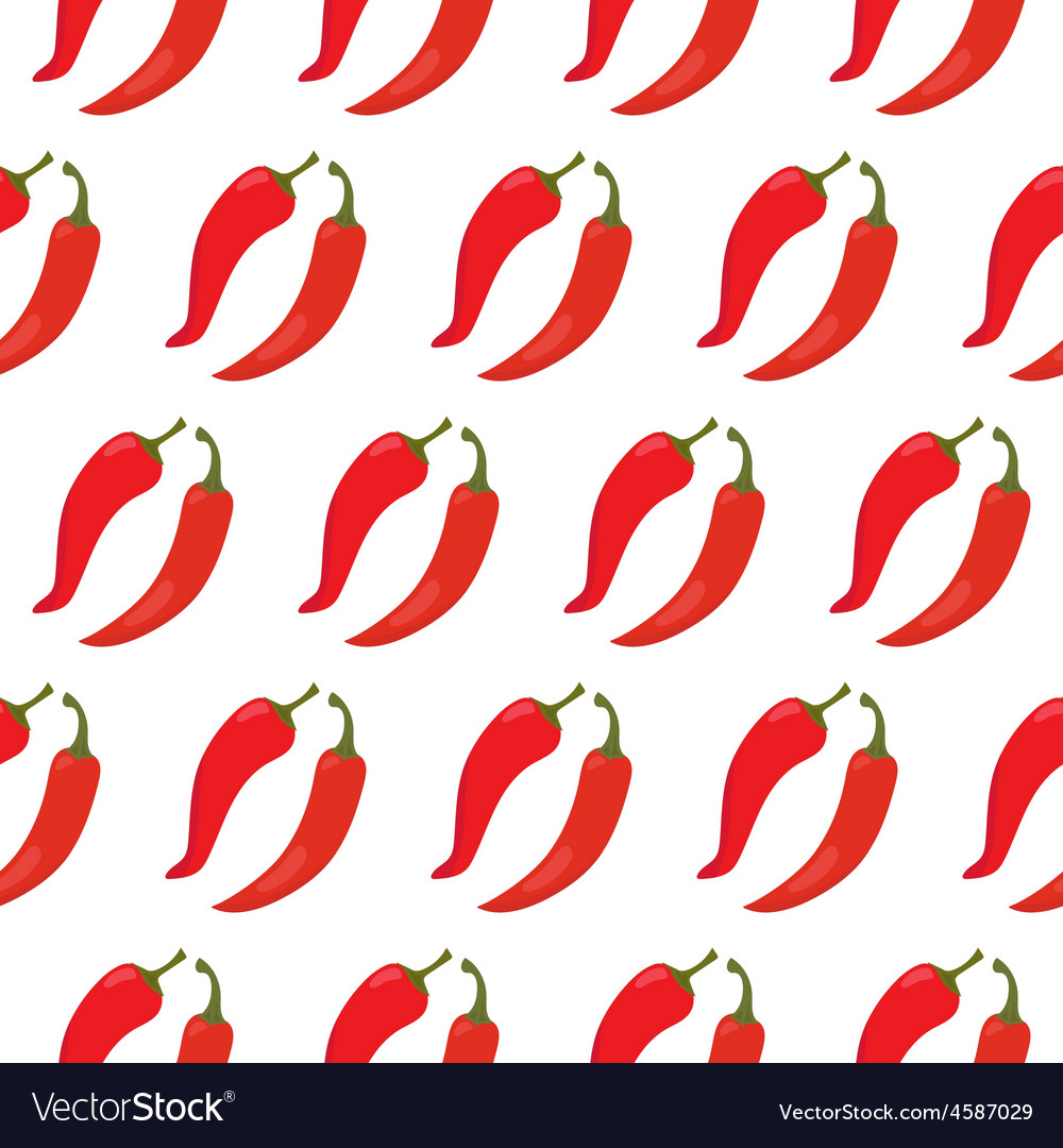 Seamless pattern with red chili peppers vector | Price: 1 Credit (USD $1)