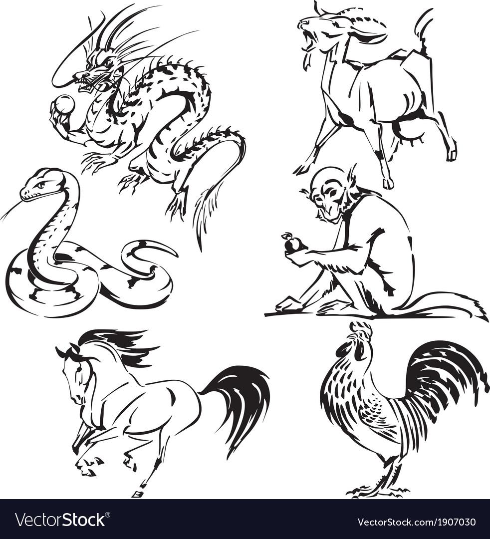 Asian zodiac 1 vector | Price: 1 Credit (USD $1)