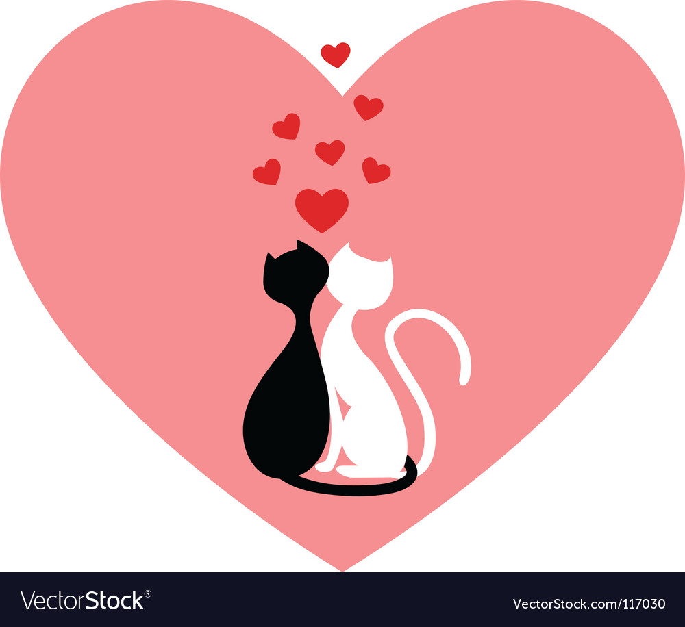 Black cat and white cat vector | Price: 1 Credit (USD $1)