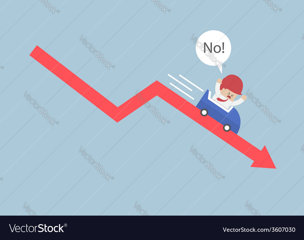 Businessman going down in a roller coaster over st vector | Price: 1 Credit (USD $1)