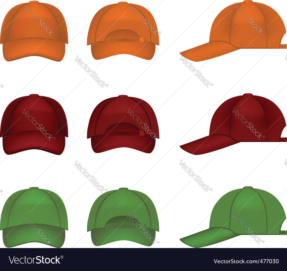 Colorful baseball caps vector | Price: 1 Credit (USD $1)