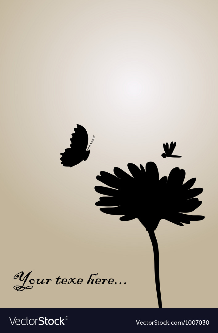 Flower and butterfly background vector | Price: 1 Credit (USD $1)