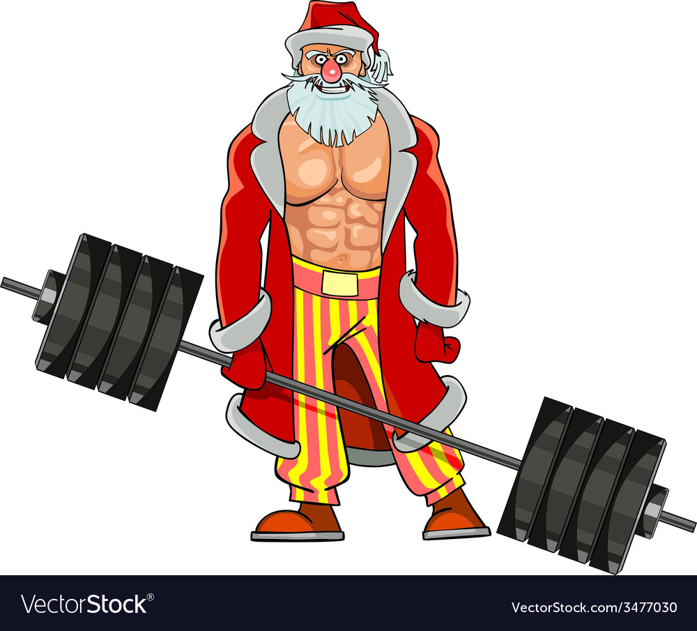 Man with pumped muscles dressed as santa claus vector | Price: 3 Credit (USD $3)