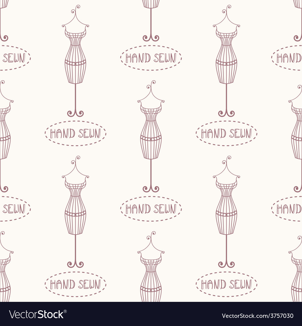 Seamless pattern with vintage iron mannequin vector | Price: 1 Credit (USD $1)