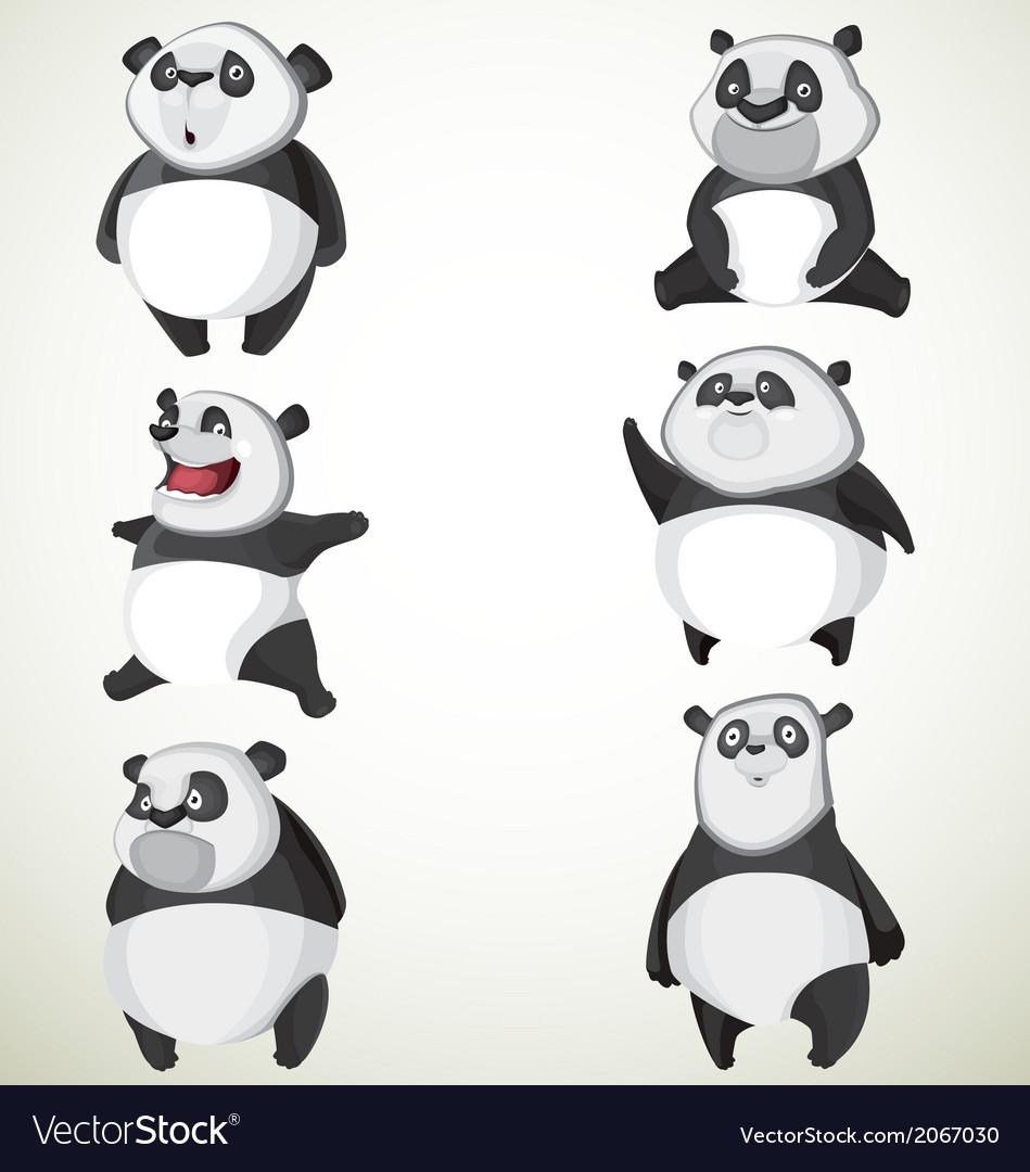 Set of six cute pandas vector | Price: 1 Credit (USD $1)