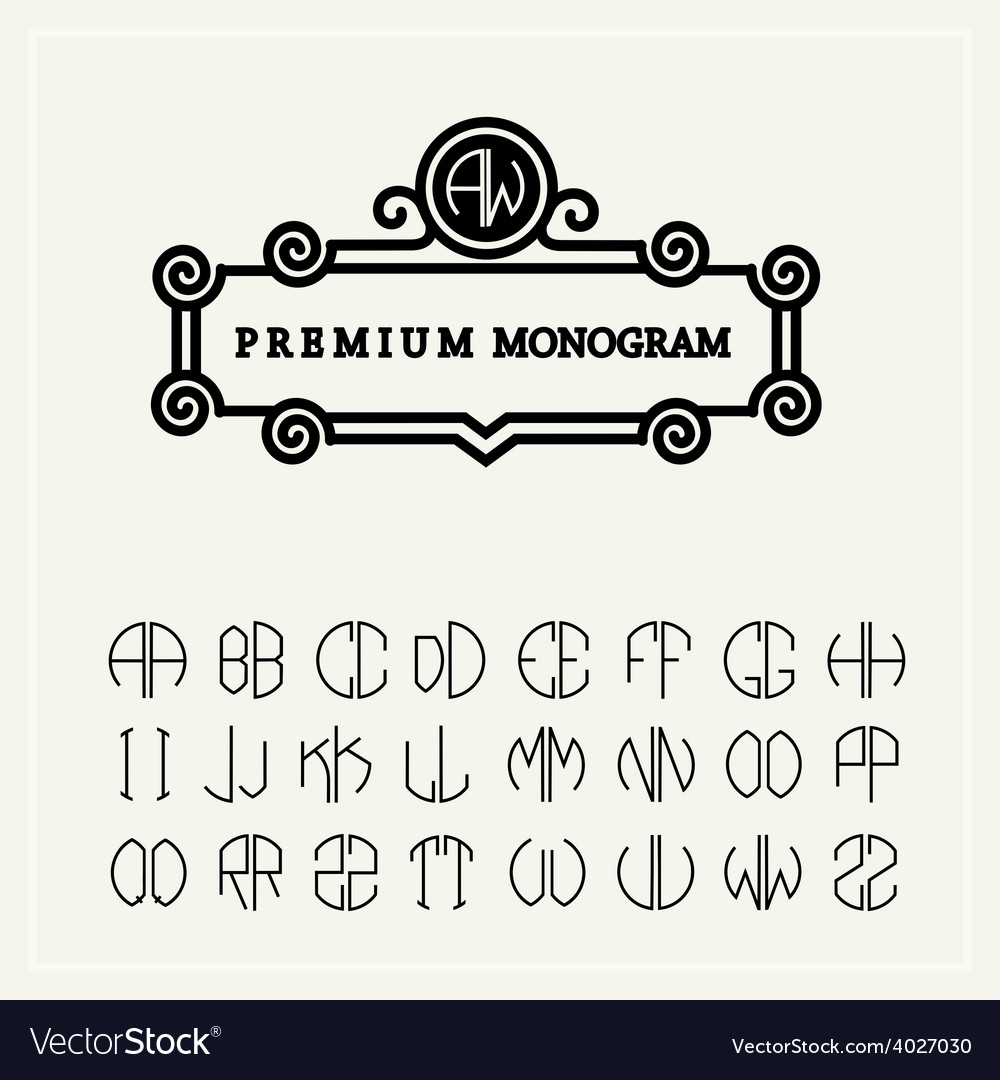 Set template letters to create monograms e vector | Price: 1 Credit (USD $1)