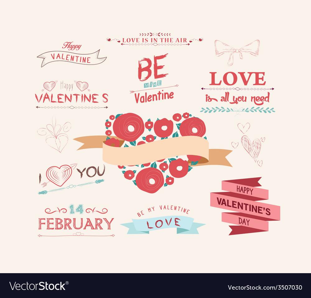 Valentines day set  vintage design elements vector