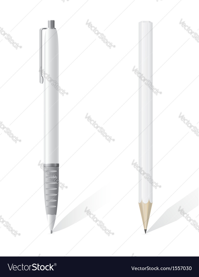 White blank pencil and pen vector
