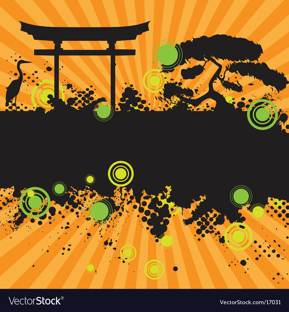 Asian style landscape vector | Price: 1 Credit (USD $1)