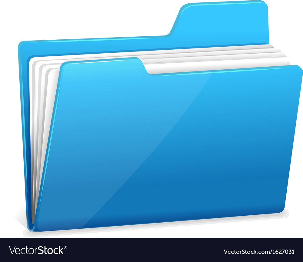 Blue file folder with documents vector