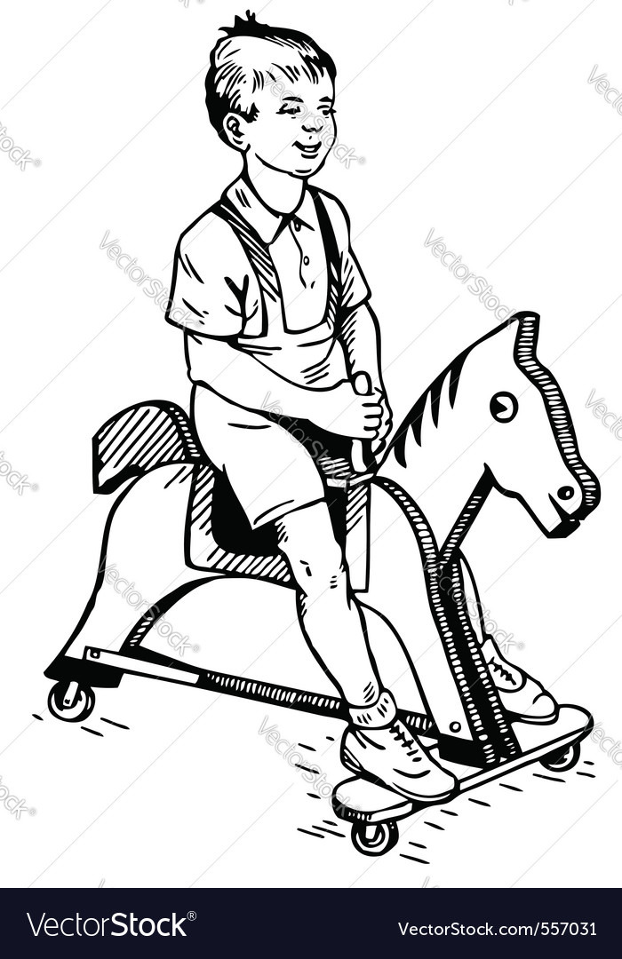 Boy on the toy horse vector | Price: 1 Credit (USD $1)
