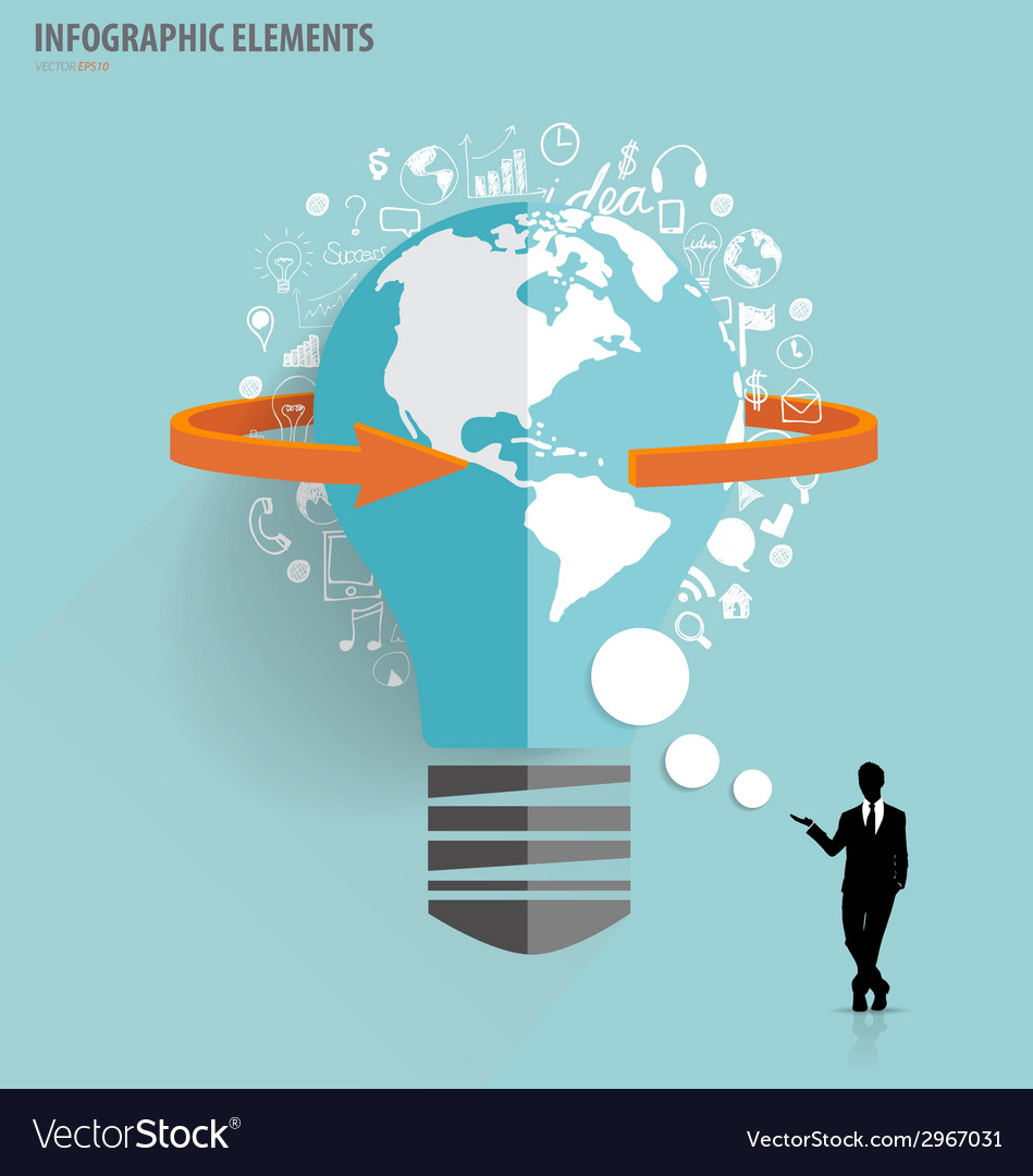 Businessman showing light bulb with cloud of vector | Price: 1 Credit (USD $1)