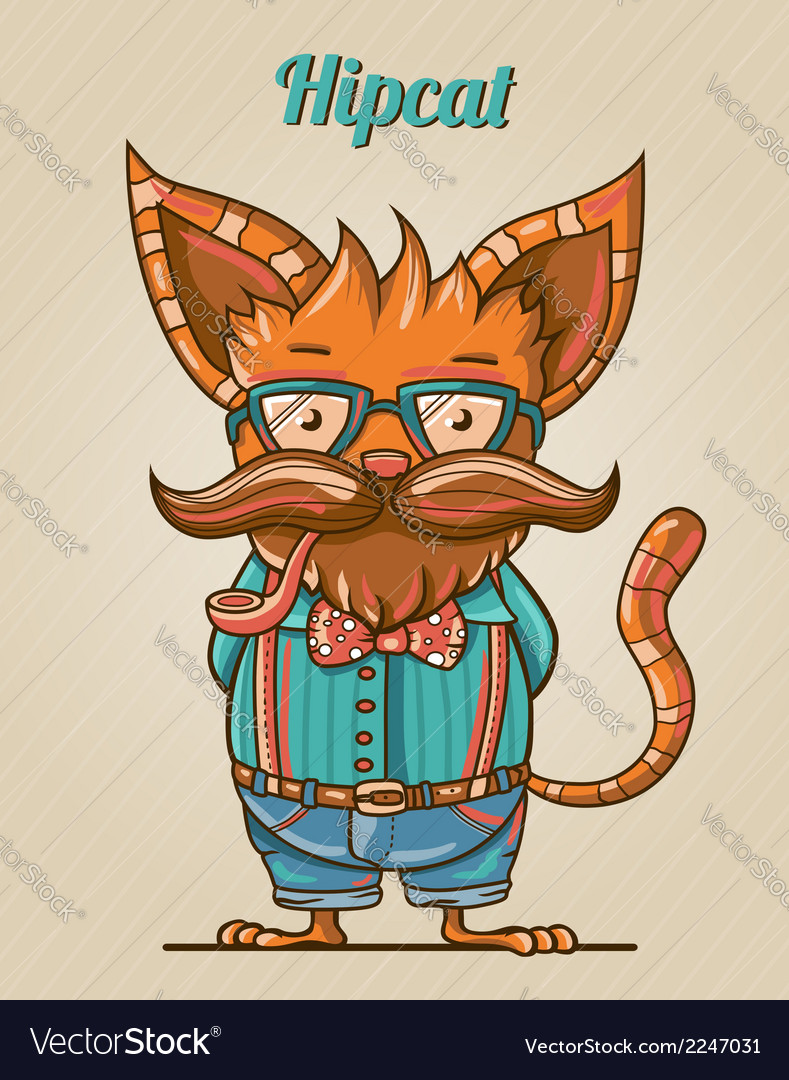 Cartoon hipster style cat vector | Price: 1 Credit (USD $1)