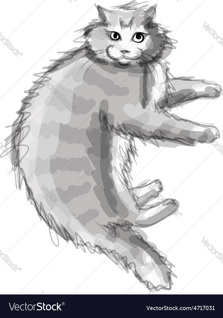Cute grey cat sketch for your design vector | Price: 1 Credit (USD $1)