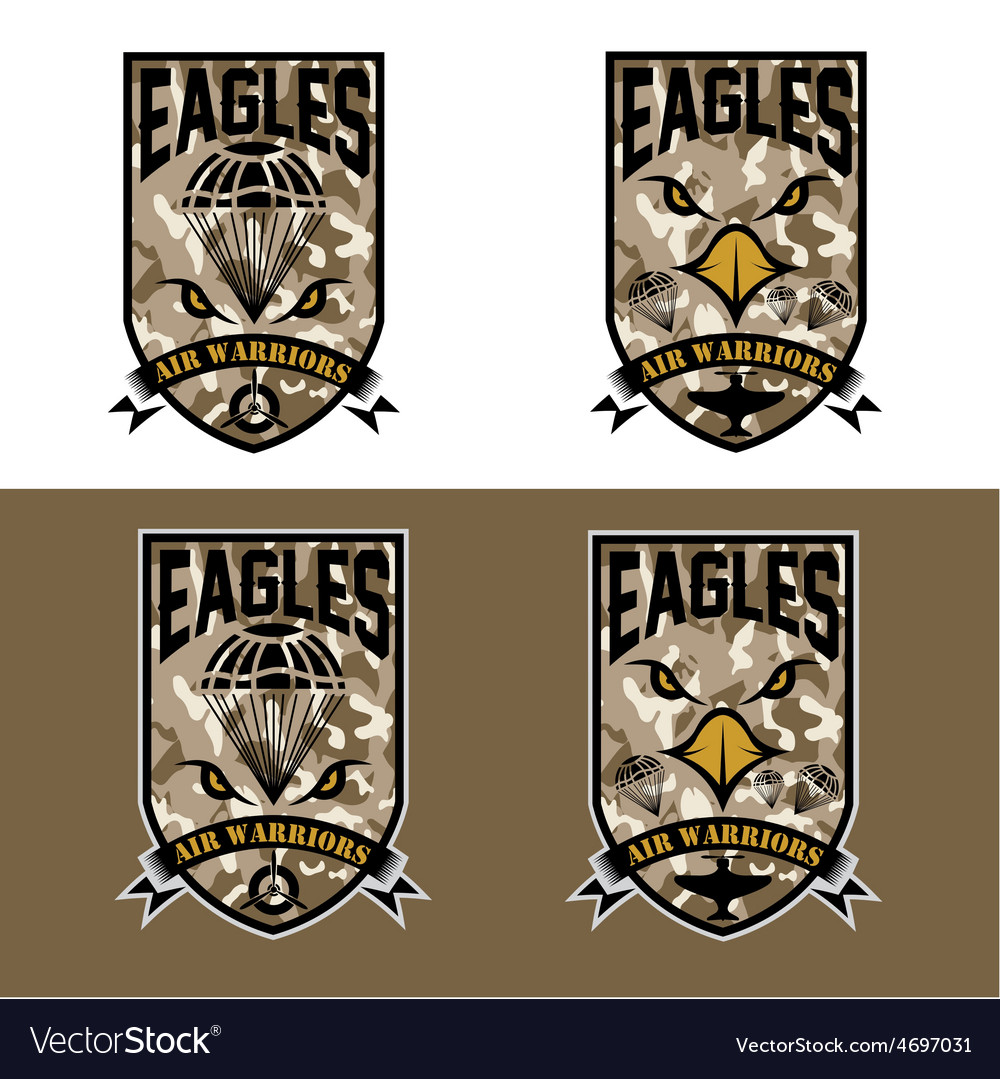 Eagles air warrriors army shields set design vector | Price: 1 Credit (USD $1)