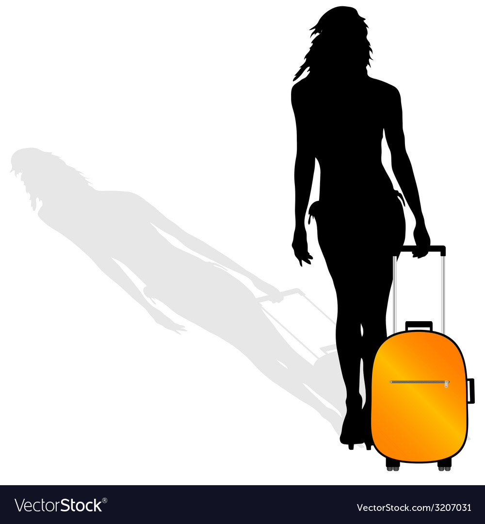 Girl with a suitcase silhouette vector | Price: 1 Credit (USD $1)